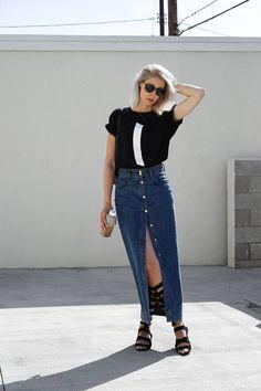 Long Denim Button Skirt Streetstyle