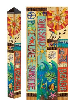 Great new Garden Art Pole with beach theme! Carolina Creations | Peace Pole PP256 Peace Love and Sunshine Life is Good at the Beach 3 foot