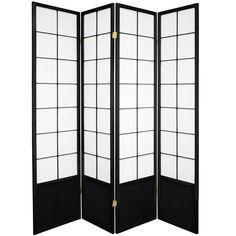 Oriental Furniture 6 ft. Black 4-Panel Room Divider Wood Room Divider, 4 Panel Room Divider, Sliding Room Dividers, Divider Cabinet, Portable Room Dividers, Decorative Room Dividers, Square Lattice, Shoji Screen, Zen Room