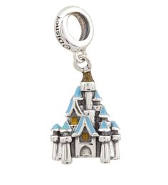 Disney Park Exclusive Chamilia Cinderella Castle Silver Dangle Charm fit Pandora Bracelets! Your fondest dreams are a wish your heart makes while wearing this shimmering sterling silver bead in the form of Cinderella Castle, a keepsake souvenir of your treasured visit to the Magic Kingdom.