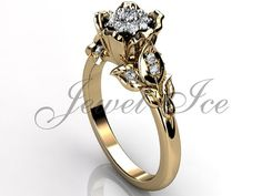 14k yellow gold diamond unusual unique cluster flower by Jewelice