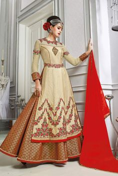 Beige and gold lehenga style kalidar suit in banarasi silk