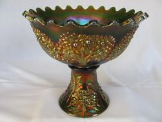 Fenton Orange Tree Flared Punch Bowl & Base – for auction. Green (extremely rare opportunity to own an extremely rare set; small chip on top of base)