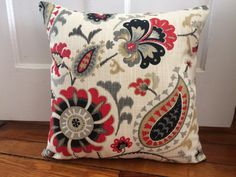 Floral Pillow Cover, 18''x18'' Red Floral Pillow Cover, Decorative Spring Pillow Cover by CleusaSordiDecor on Etsy