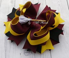 Harry Potter Hair Bow red black bow Hogwarts Gryffindor Hufflepuff  | bySilkHandsBow -  on ArtFire