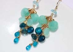 Blue Topaz Dangle Earring Gemstone Earring Aqua Blue Chalcedony Earring Gemstone Blue Earring Wire W Tanzanite Earrings, Gemstone Earrings, Dangle Earrings, Chandelier Earrings, Blue Chalcedony, Blue Topaz, Gold Statement Earrings, Blue Gemstones, Matching Necklaces