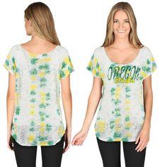 668466bdbd College Oregon Ducks Women s Jennifer Tie-Dye Scoop Neck T-Shirt - White Tie