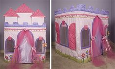 Give your princess a castle of her own with this free castle card table playhouse pattern!