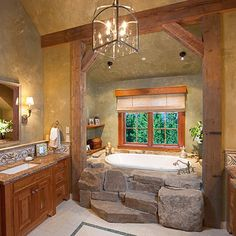 Ideas for incorporating river rock into the DIY master soaking tub big enough for my true love and I...
