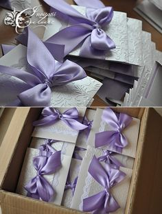 Purple Bow handmade invitations- cute but I think they may get squished in an envelope