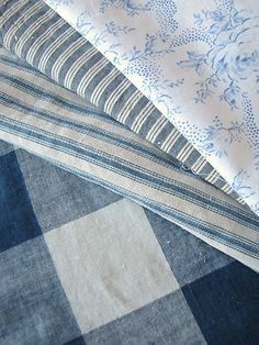 Antique Vintage French Fabrics Patchwork Pieces Blues Ticking Vichy | eBay