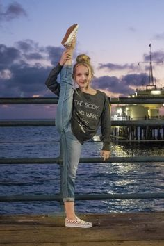 """The Body Says What Words Cannot"" – Girls Slouchy French Terry Pullove Lilly K from Dance Moms shows how it's done! She's wearing a cute sweatshirt from Covet Dance with an inspiring dance quote. Dance Picture Poses, Dance Photo Shoot, Dance Poses, Dance Pictures, Dance Moms Dancers, Dance Mums, Dance Moms Girls, Dance Photography Poses, Photography Hacks"