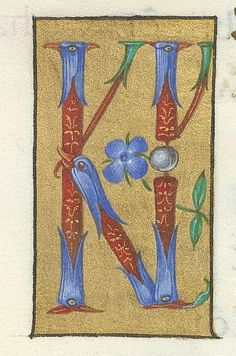 Detail of illuminated initials 'KL', at the beginning of September in the Calendar.  Origin:	Italy, N. (Ferrara or Rome)  Attribution:	second campaign