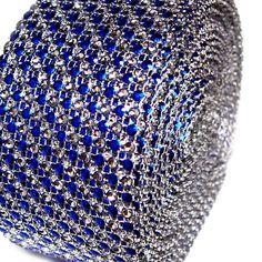 Two Tone Rhinestone Diamond Mesh Wrap Ribbon, 2-1/2-inch, 10-yard
