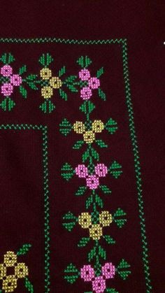 This Pin was discovered by Hül Cross Stitch Borders, Cross Stitch Designs, Cross Stitch Patterns, Prayer Rug, Christmas Cross, Filet Crochet, Embroidery Stitches, Bohemian Rug, Diy And Crafts