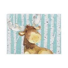 #Woodland Animal Friends in Winter Forest- Deer Doormat - #doormats #home & #living