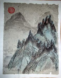 Mountain peaks. Mountain landscape. Paper handmade (series: scraps of being), Chinese ink and mineral paints. Style: painting ideas. 21x27 cm