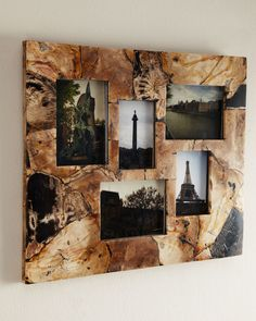 Petrified Wood Collage Frame - Janice Minor (Wood You Mind? Accents Wood Classic Natural Brown Tan Glass Decor)