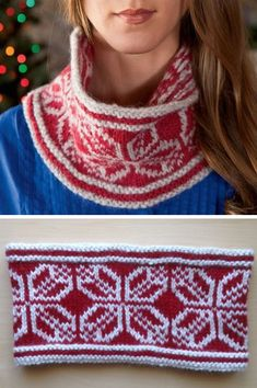Knitting Pattern for Snowflake Cowl - Stranded colorwork cowl inspired by traditional Scandinavian motifs. Designed by Celeste Young. Pictured project bysherry-h who said it was a very quick project.