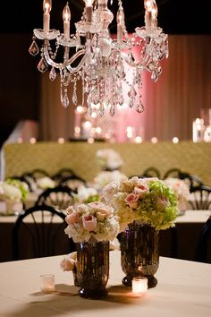 romantic blush and white floral centerpieces