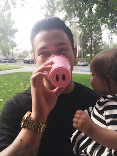 Pink pig nose cups Olivia the pig 1st birthday party