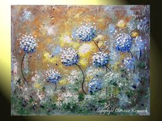 Original Art Abstract Painting White Flowers Blue Brown Modern Landscape Palette Knife Antiqued Textured Floral Wall Decor 24x30 -Christine     $295.00