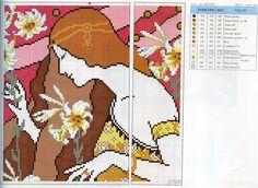 0 point de croix art nouveau lady - cross stitch