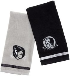 The Monster Hand Towels set is fit for a fiend (and his bride). The electrifying twosome is embroidered onto a pair of soft, cotton, terry cloth towels and feature contrasting ribbon trim. - Made by S
