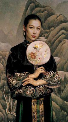 陈逸鸣油画作品:仕女系列-2 - 黑衣女子  2001年作 作品尺寸:121.9*66cm
