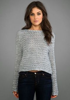 Shop for Cheap Monday Cher Sweater in Grey Melange at REVOLVE. Free day shipping and returns, 30 day price match guarantee. Poncho Pullover, Garter Stitch, Knit Fashion, Mode Outfits, Revolve Clothing, Crochet Clothes, Pulls, Knitwear, Knitting Patterns