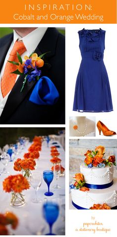 Great collection for a bright orange and cobalt blue wedding!  Royal and Tangerine show up in everything from flowers, to a great groom's look to a pretty blue bridesmaid dress.  Cobalt glassware makes for a lovely tablescape.  Colors come together again in a ribbon wedding cake with more orange flowers gracing the top. @Kelly Sand