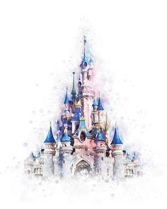 Disney Castle Print Princess Cinderella Castle Print Watercolor Artwork Poster D. Disney Castle Drawing, Disney Drawings, Disney Castle Tattoo, Disney World Castle, Drawing Disney, Tattoo Disney, Walt Disney Castle, Disney Cinderella Castle, Disneyland Castle