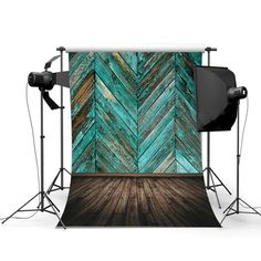 Turquoise Wooden Panels Photography Studio Backdrop Dimensions: 5' x 6.5' Package includes backdrop only (poles, support, lighting, etc. are just to show how it looks) Computer generated and digitally