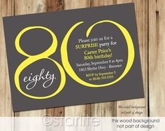 Milestone Birthday invitation, Modern Number - Yellow Dark Gray - any age number 20 30 40 50 60 70 80 90th - PRINTABLE INVITATION DESIGN