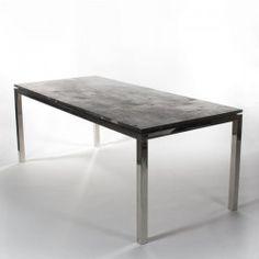 MERCILESS BLACK table, top in black petrified wood on chrome base. #Cravt #DKhome #Craftsmanship #Living #Diningtables #furniture #Luxuryfurniture