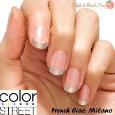 French Ciao Milano by Color Street. Color Street makes it easy to get the perfect manicure or pedicure on those nails. Each set includes 16 double ended 100% nail polish strips. They go on with no tools, no heat and no dry time. Click through to request a sample and join my VIP FB group.