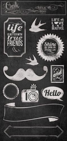 New Collection Reveal- Chalk Studio! Typography Fonts, Lettering, Chalkboard Doodles, Vintage Frames, Washi Tape, Digital Scrapbooking, Vectors, Whimsical, Printables