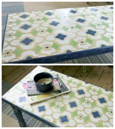 Stenciled Coffee Table   Chez Ali Moroccan Stencil   Project by Craft Interrupted http://www.craftinterrupted.com/2013/06/makeover-monday-stenciled-coffee-table.html