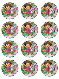 12 Dora Birthday Edible Icing Cupcake Cup Cake Decoration Cake Image Toppers | eBay