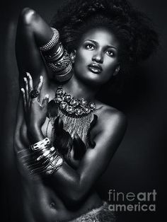 Beautiful African American Woman Wearing Jewelry Art Print by Maxim Images Prints. All prints are professionally printed, packaged, and shipped within 3 - 4 business days. Choose from multiple sizes and hundreds of frame and mat options. Black And White Portraits, Black And White Photography, My Black Is Beautiful, Beautiful Women, Beautiful Eyes, Beautiful Pictures, Skin Girl, Portrait Photography, Fashion Photography
