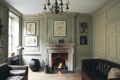 Living room with walls in French Gray, trim in London Stone and ceiling in…