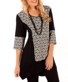 Take a look at this Black & White Abstract Panel Tunic - Women by Aster on #zulily today!