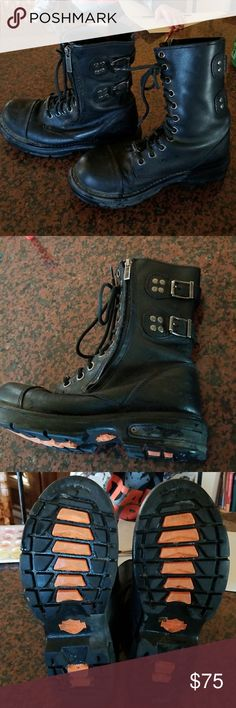 Black Harley Davidson Moto boots Size 8 and in great shape, gently used. Harley-Davidson Shoes Combat & Moto Boots