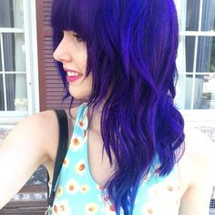 Dye used: Pravana Violet, with streaks of Manic Panic Rockabilly Blue and Ion Color Brilliance Brights Aqua. http://the-big-meowski.tumblr.com/