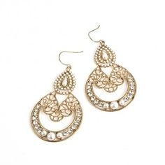 AryA Italian Jewels - Women Golden Earrings with Swarovski Crystal - Orecchini Donna Oro con Strass Swarovski