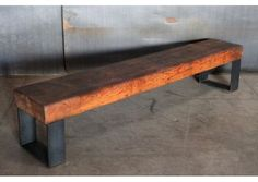 Custom modern industrial vintage furniture and lighting by Cleveland Art and Jason Wein Industrial Bench, Rustic Bench, Industrial Furniture, Modern Bench, Modern Chairs, Modern Rustic, Metal Furniture, Diy Furniture, Barn Board Projects