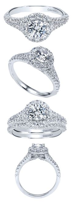 This is a sensational diamond halo engagement ring with a lovely round cut one already picked out for the center. Also available as a complete bridal set from Gabriel & Co.