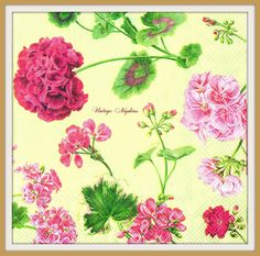 2 PAPER NAPKINS for DECOUPAGE - Pink Geranium Pelargonium Beige Pattern #390 by VintageNapkins on Etsy