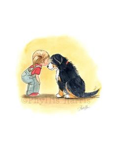 A little girl and her Bernese Mountain Dog First Love Pet