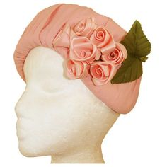 1960s pink ruched pillbox hat with rosebuds